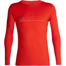 Icebreaker 200 Oasis Deluxe Single Line Ski Raglan LS Crew Shirt Men Chili Red